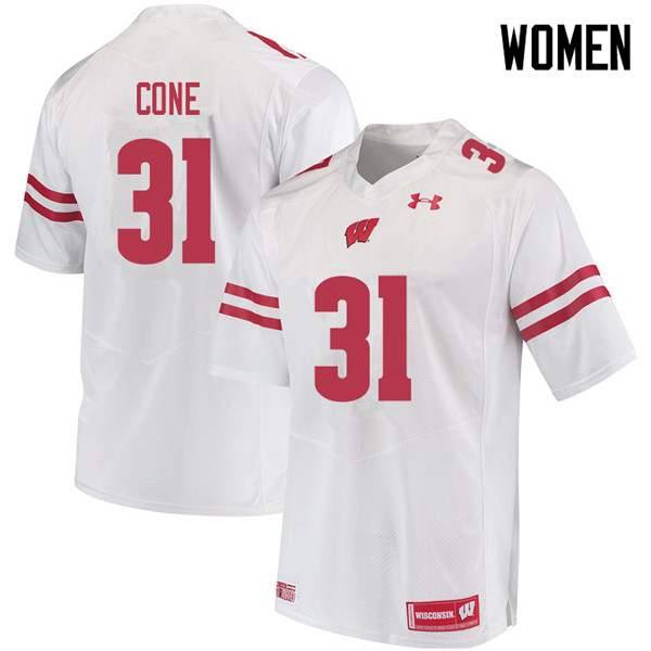 Women #31 Madison Cone Wisconsin Badgers College Football Jerseys Sale-White